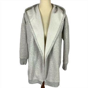 Athleta Gray Fleece Hooded Open Cardigan  Sz L